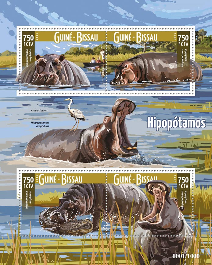 Hippopotamus - Issue of Guinée-Bissau postage stamps