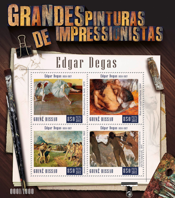 Edgar Degas - Issue of Guinée-Bissau postage stamps