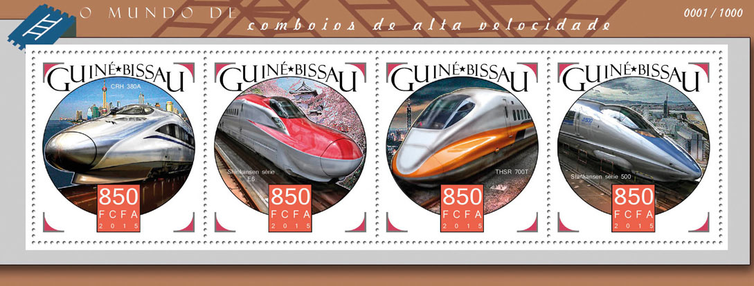 High speed trains - Issue of Guinée-Bissau postage stamps