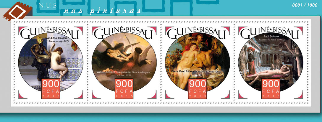 Nudes in paintings - Issue of Guinée-Bissau postage stamps
