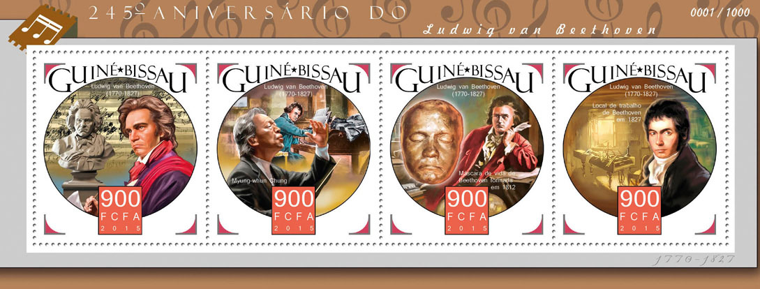 Ludwig van Beethoven - Issue of Guinée-Bissau postage stamps