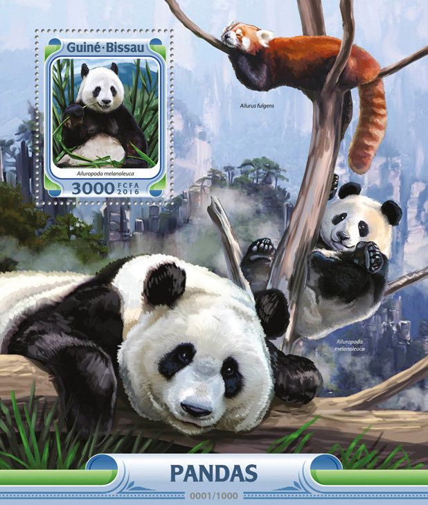 Pandas - Issue of Guinée-Bissau postage stamps