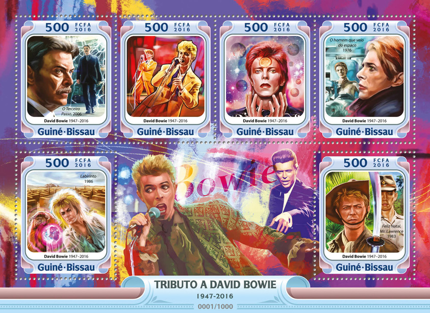 David Bowie - Issue of Guinée-Bissau postage stamps