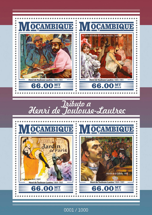 Henri de Toulouse-Lautrec - Issue of Guinée-Bissau postage stamps