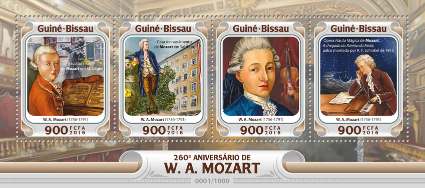 W. A. Mozart - Issue of Guinée-Bissau postage stamps