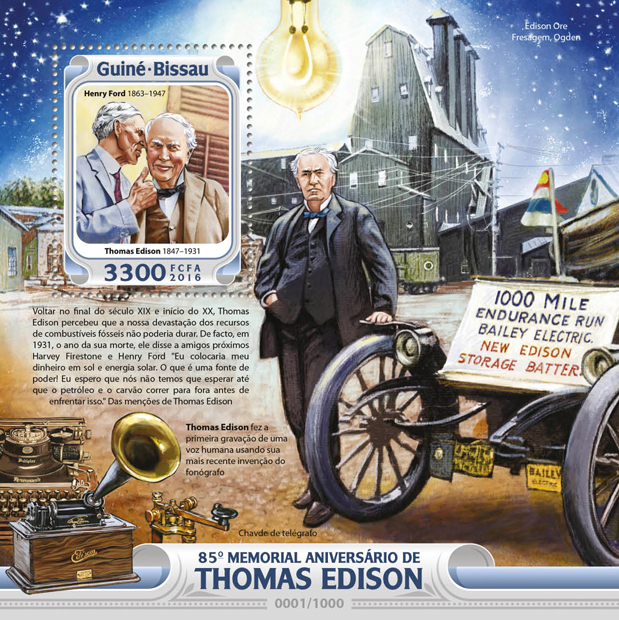 Thomas Edison - Issue of Guinée-Bissau postage stamps