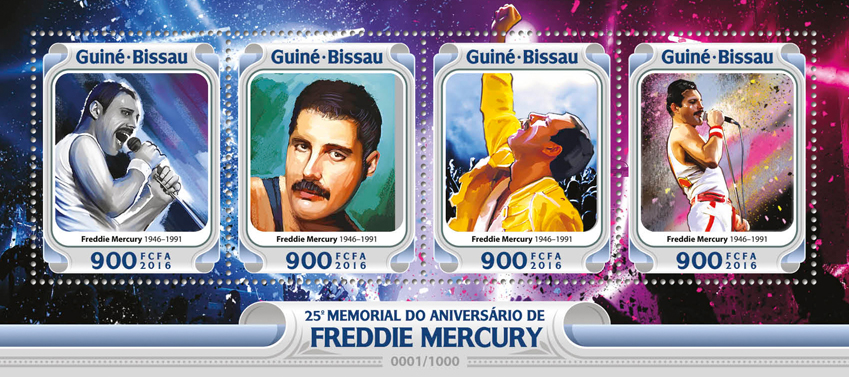 Freddie Mercury - Issue of Guinée-Bissau postage stamps