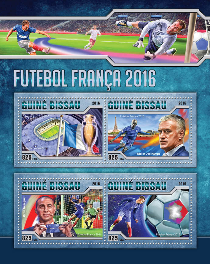 Football 2016 - Issue of Guinée-Bissau postage stamps
