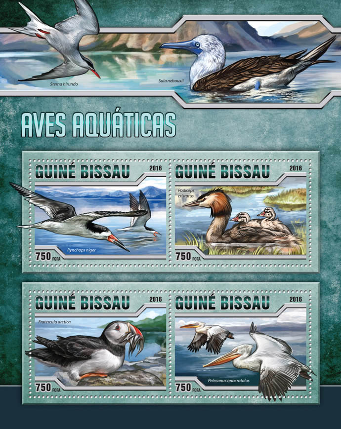 Water birds - Issue of Guinée-Bissau postage stamps