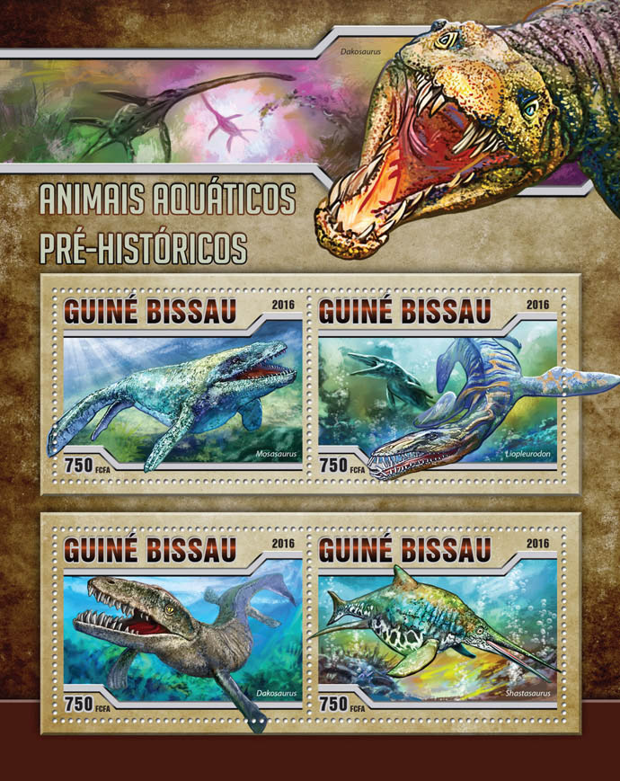 Prehistoric water animals - Issue of Guinée-Bissau postage stamps