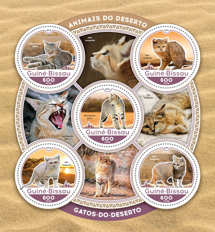 Sand cats - Issue of Guinée-Bissau postage stamps