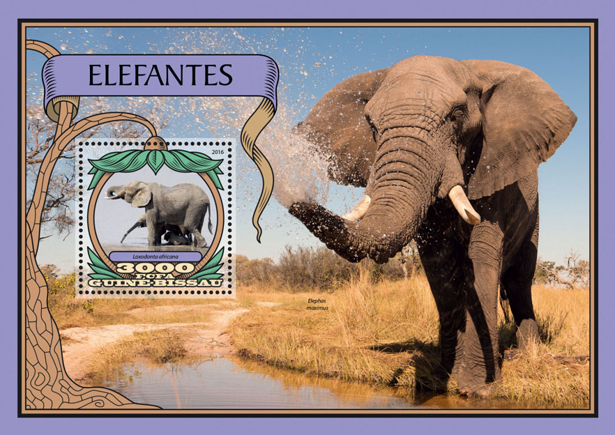 Elephants - Issue of Guinée-Bissau postage stamps