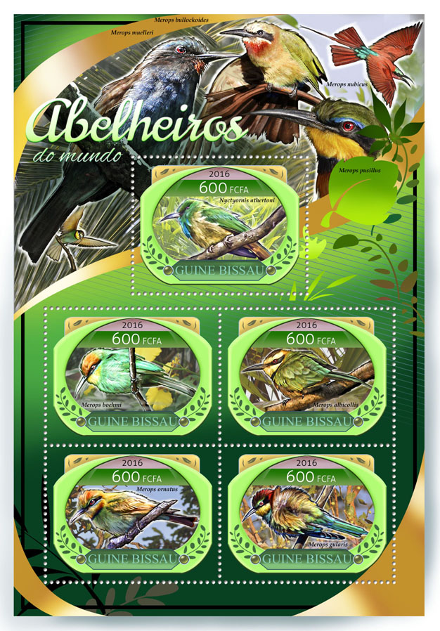Bee-eaters - Issue of Guinée-Bissau postage stamps