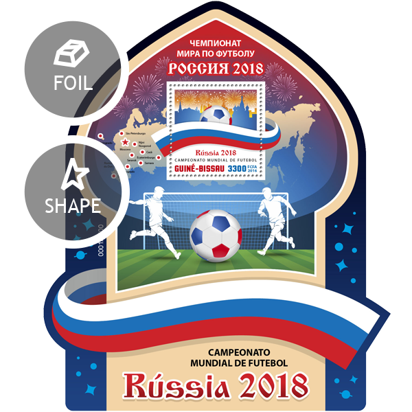 Football Russia 2018 - Issue of Guinée-Bissau postage stamps