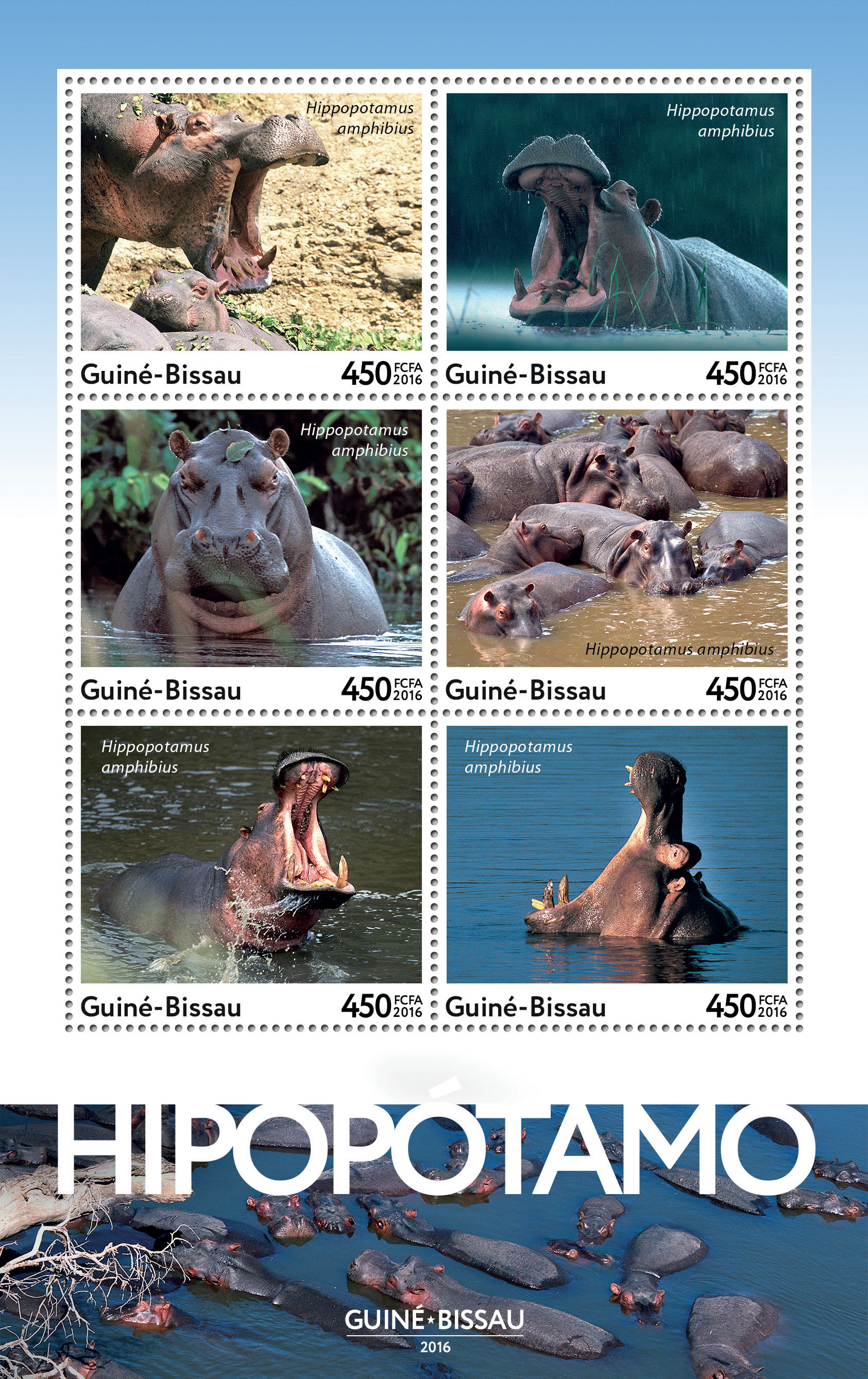 Hippopotamus 6v - Issue of Guinée-Bissau postage stamps