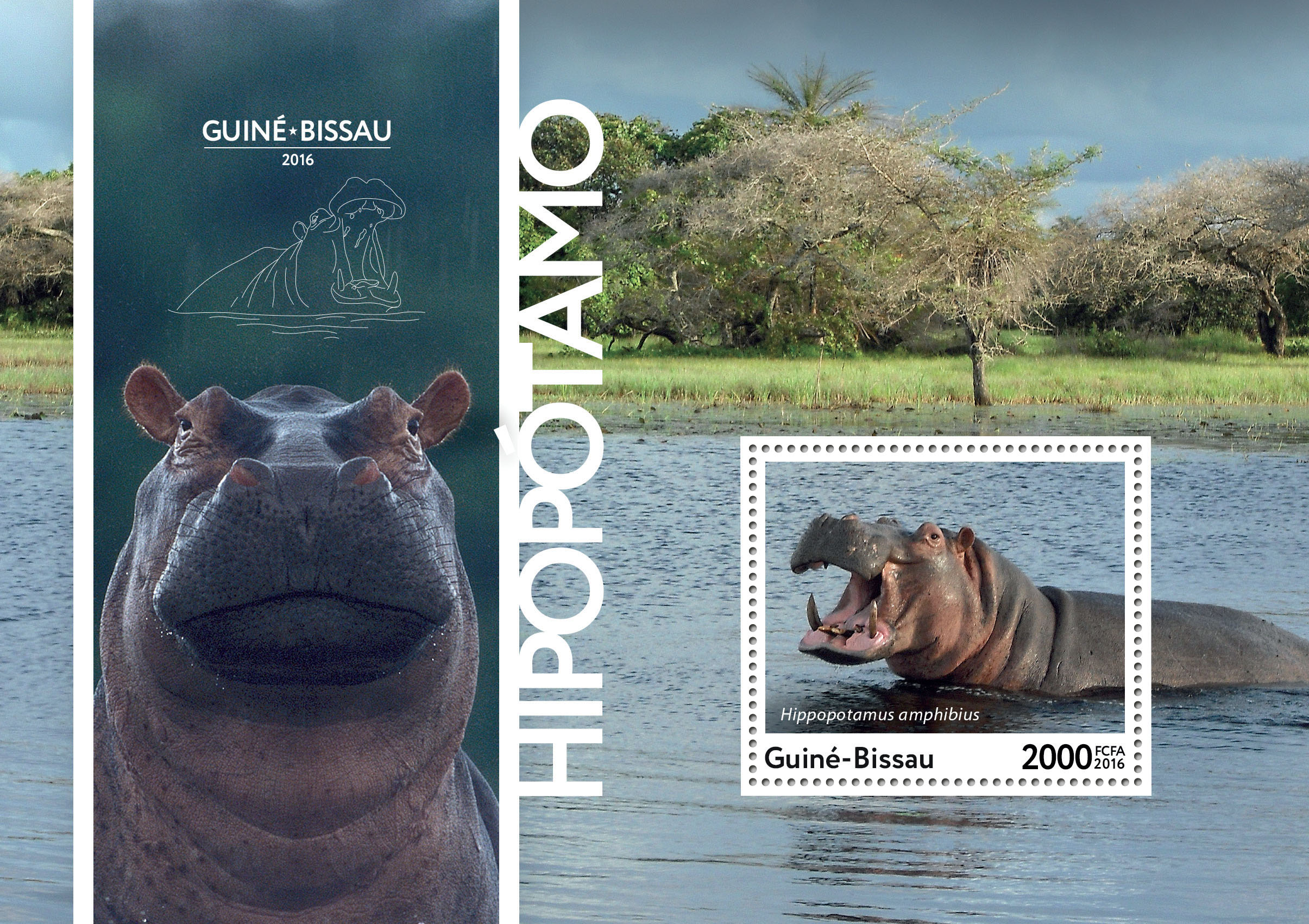Hippopotamus s/s - Issue of Guinée-Bissau postage stamps