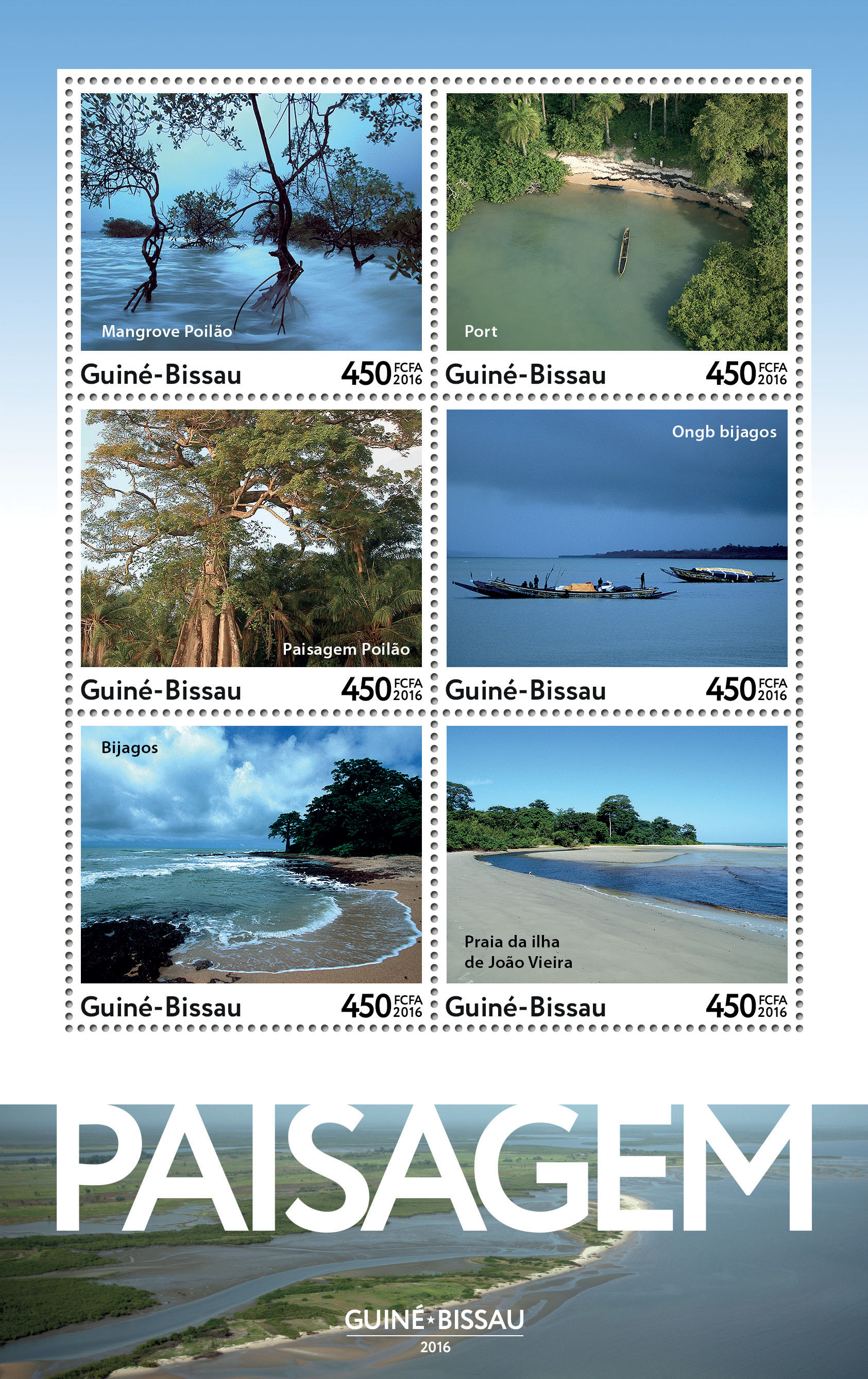 Landscapes 6v - Issue of Guinée-Bissau postage stamps