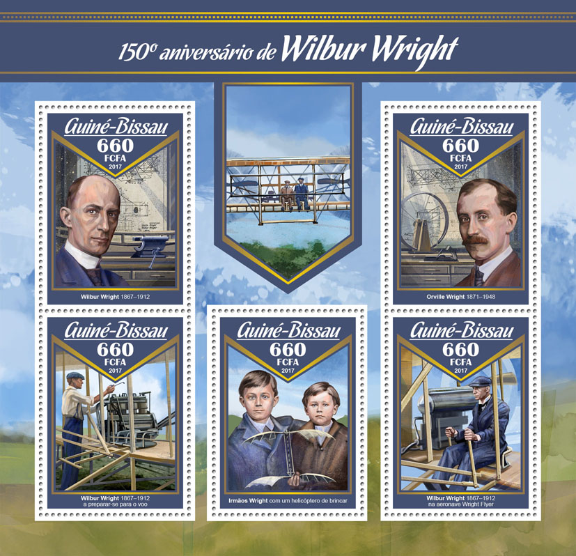 Wilbur Wright - Issue of Guinée-Bissau postage stamps