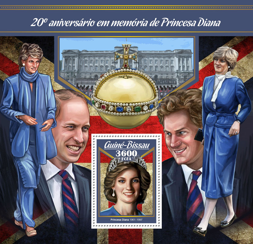 Princess Diana - Issue of Guinée-Bissau postage stamps