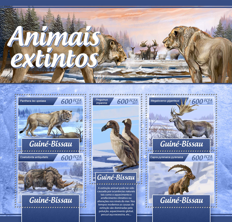 Extinct animals - Issue of Guinée-Bissau postage stamps
