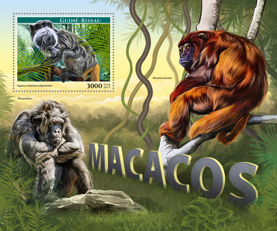 Monkeys - Issue of Guinée-Bissau postage stamps
