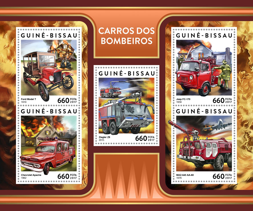 Fire trucks - Issue of Guinée-Bissau postage stamps
