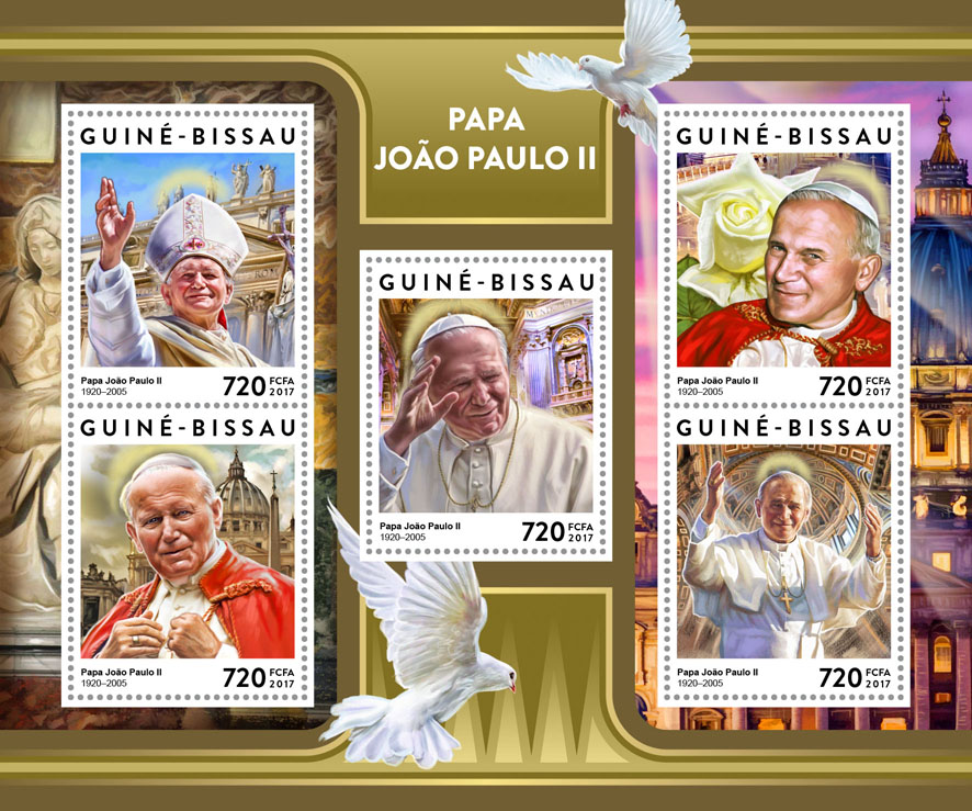 Pope John Paul II - Issue of Guinée-Bissau postage stamps