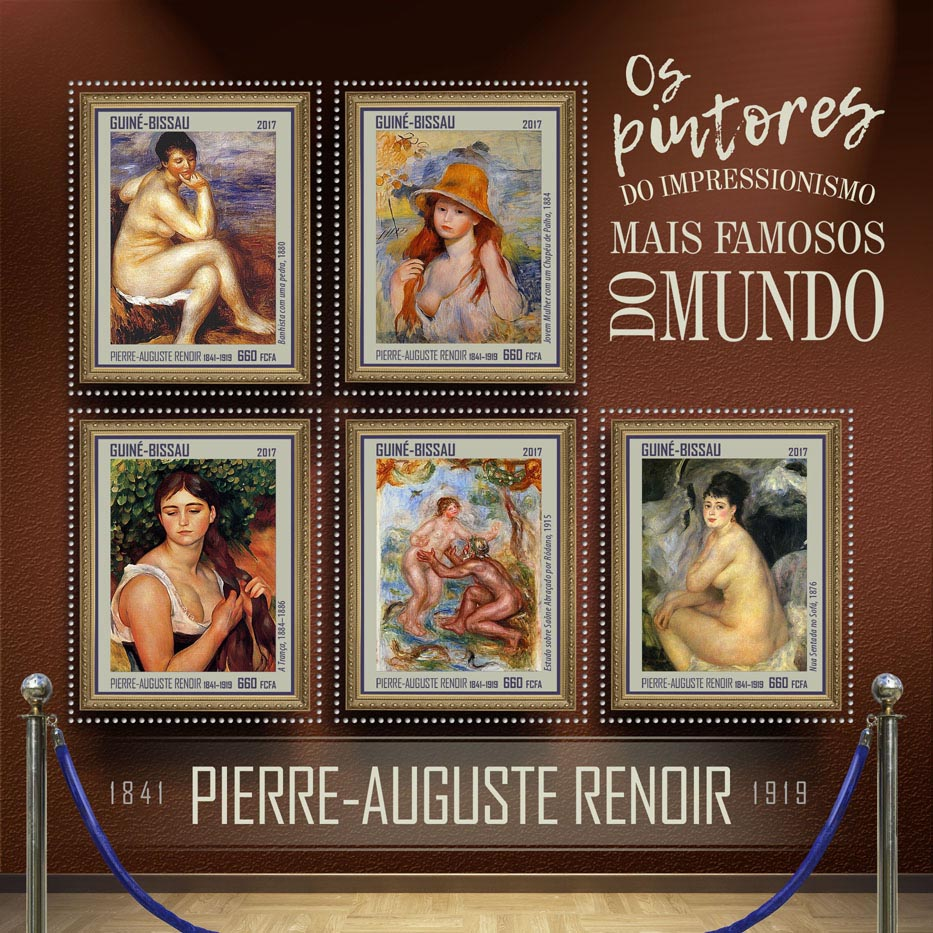 Pierre Auguste Renoir - Issue of Guinée-Bissau postage stamps