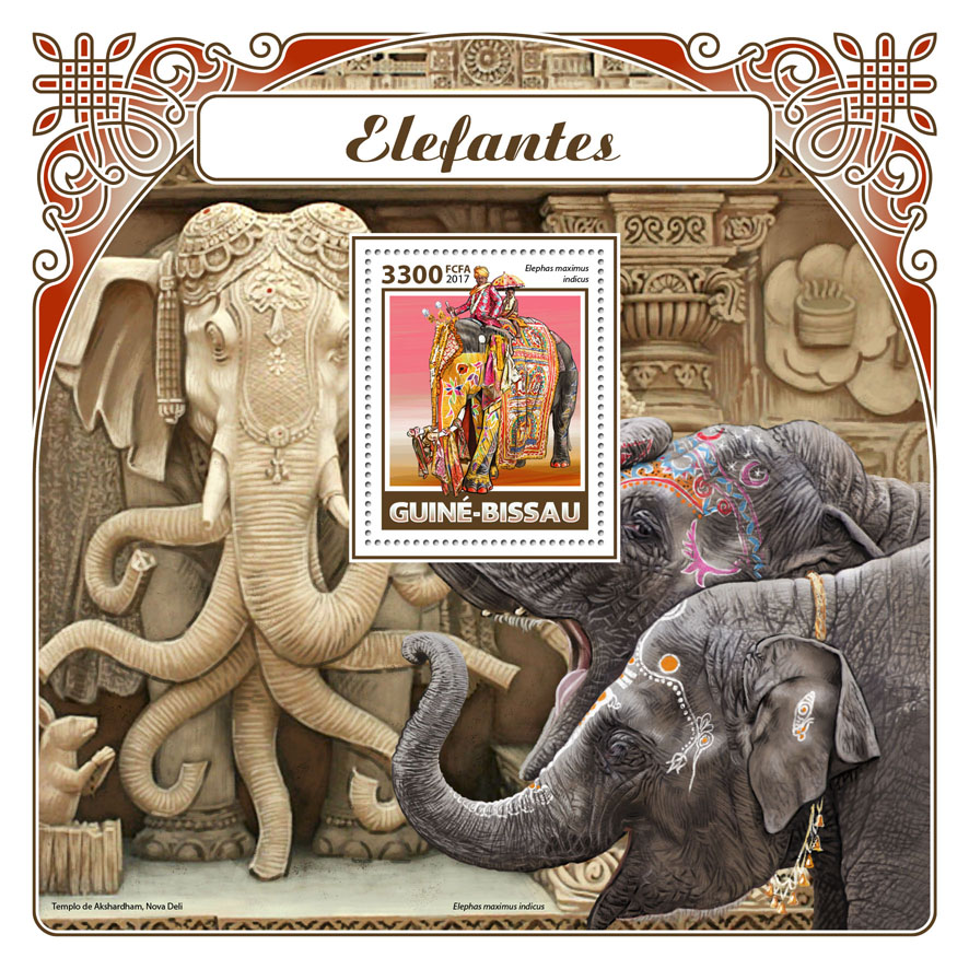 Elephants - Issue of Guinée-Bissau postage stamps