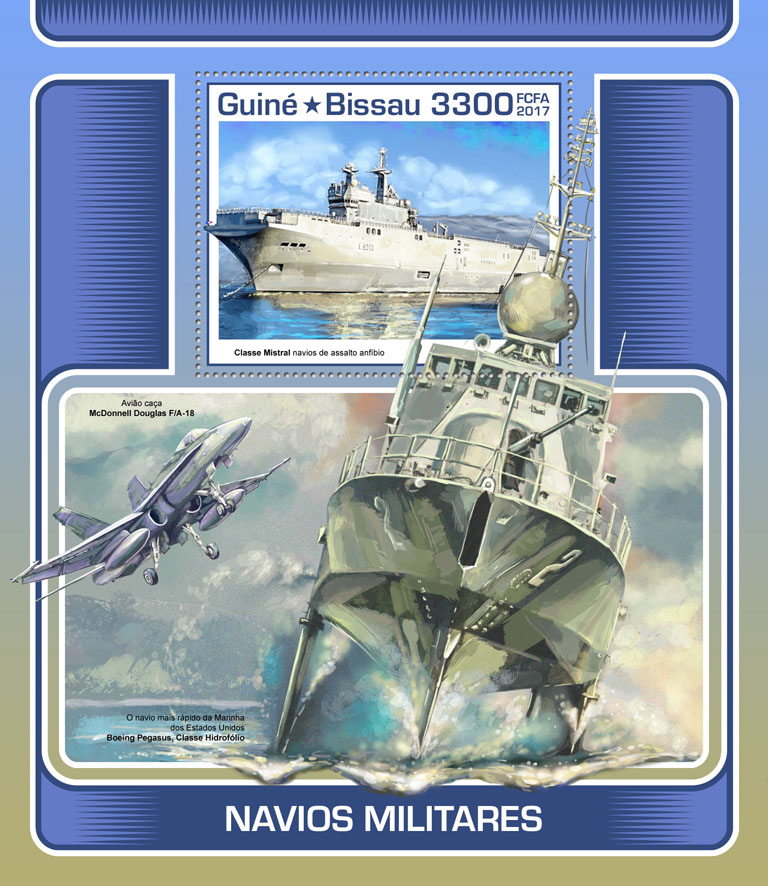 Military ships - Issue of Guinée-Bissau postage stamps