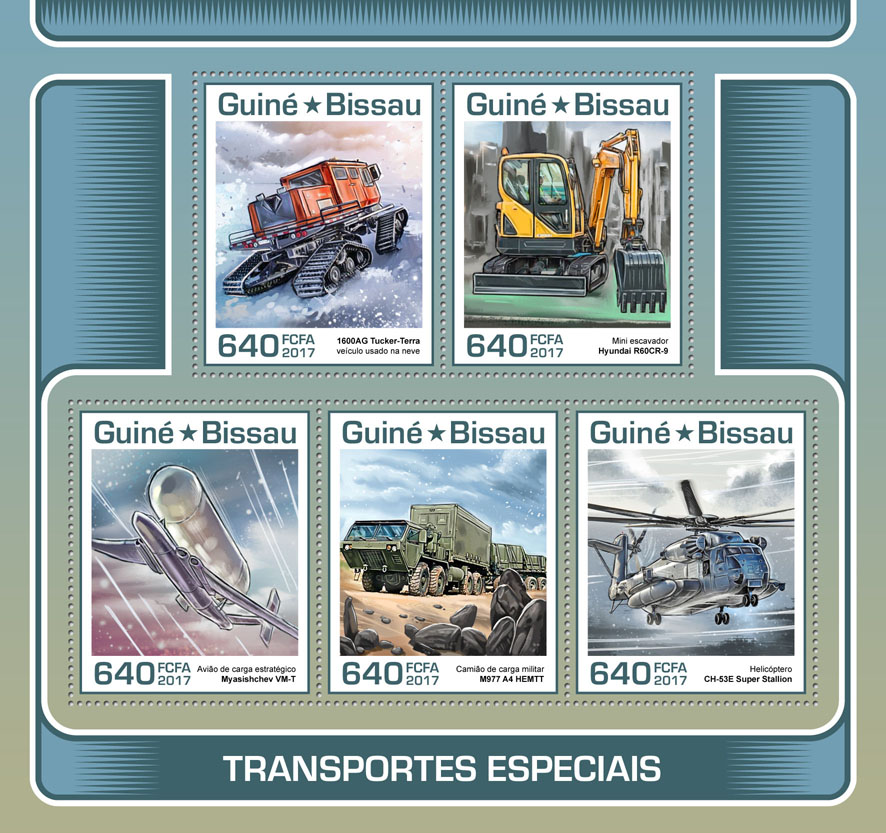 Special transport - Issue of Guinée-Bissau postage stamps