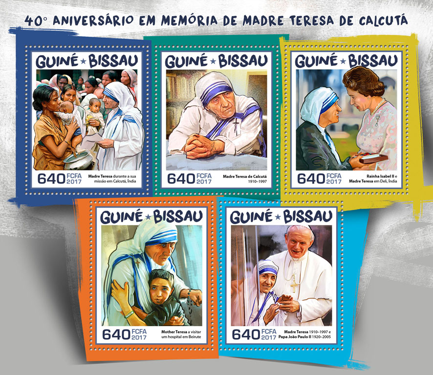 Mother Teresa - Issue of Guinée-Bissau postage stamps