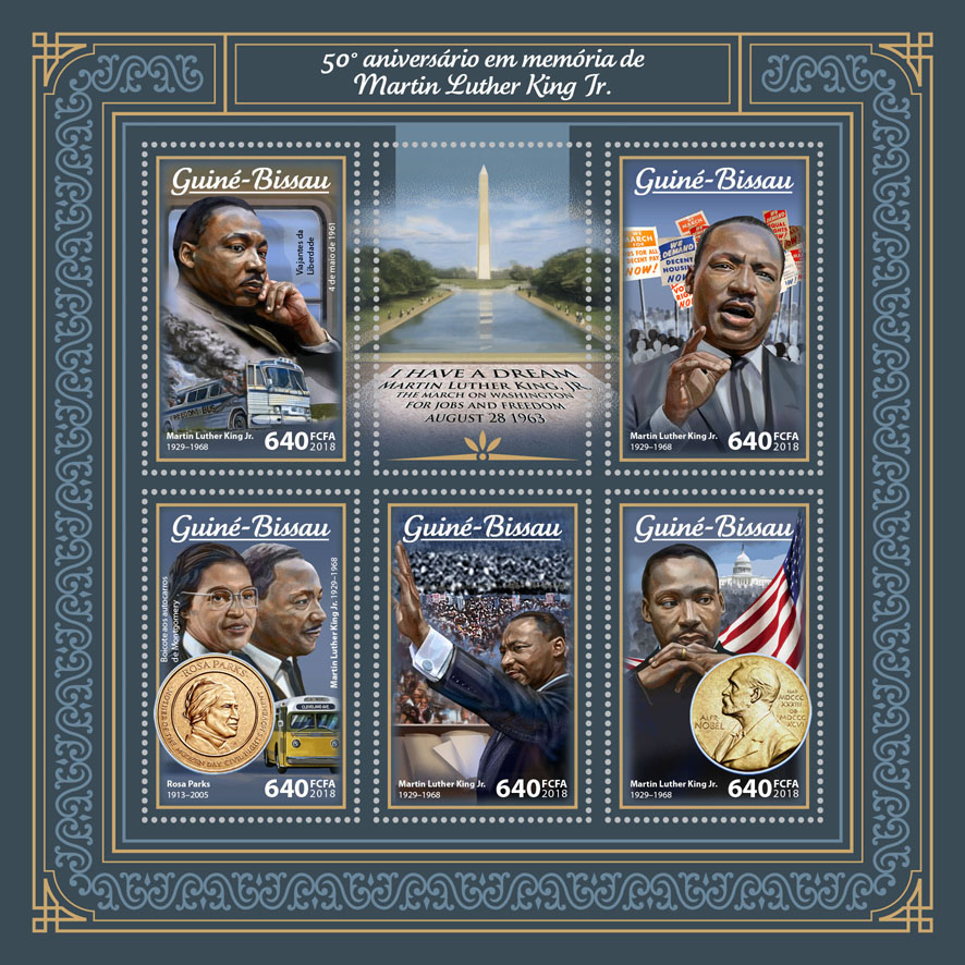 Martin Luther King Jr. - Issue of Guinée-Bissau postage stamps