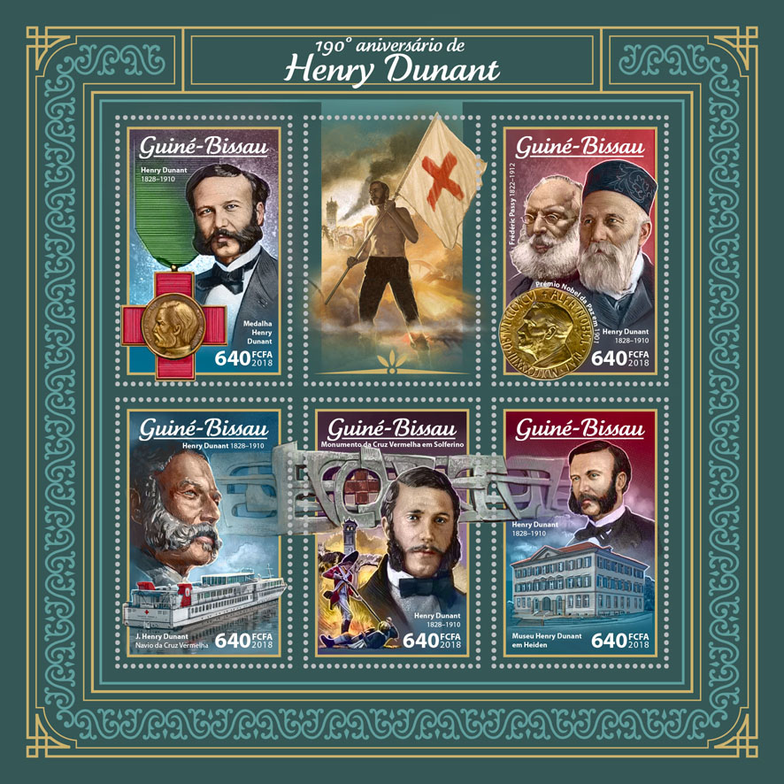 Henry Dunant - Issue of Guinée-Bissau postage stamps