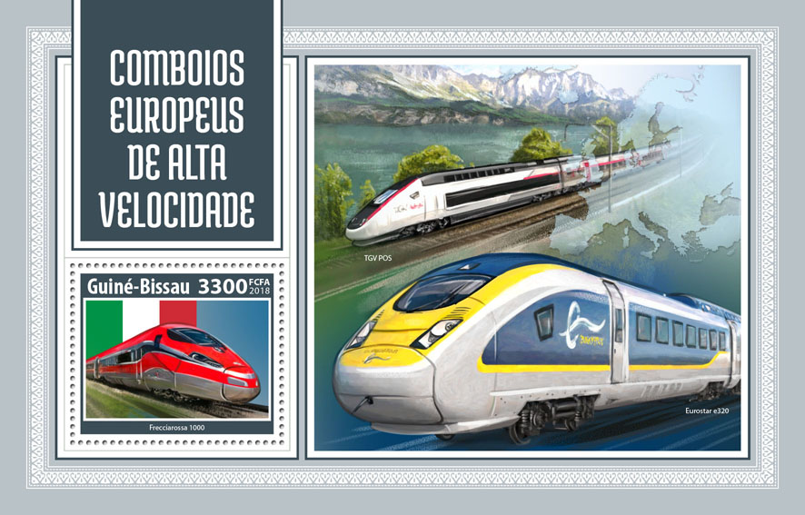 European speed trains - Issue of Guinée-Bissau postage stamps