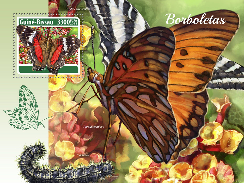 Butterflies - Issue of Guinée-Bissau postage stamps