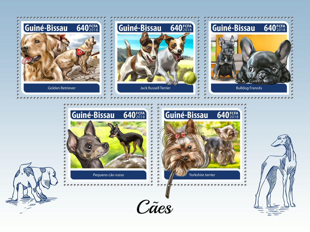 Dogs - Issue of Guinée-Bissau postage stamps