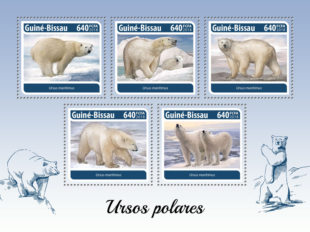 Polar bear - Issue of Guinée-Bissau postage stamps