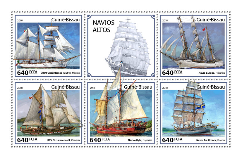 Tall ships - Issue of Guinée-Bissau postage stamps