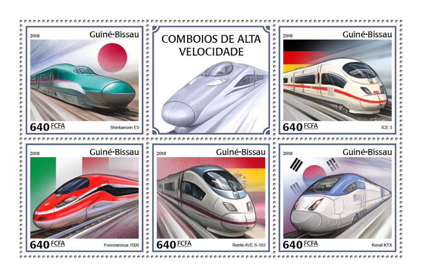 Speed trains - Issue of Guinée-Bissau postage stamps