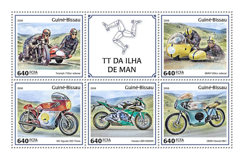 Man TT Race - Issue of Guinée-Bissau postage stamps