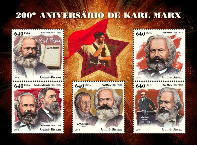Karl Marx - Issue of Guinée-Bissau postage stamps