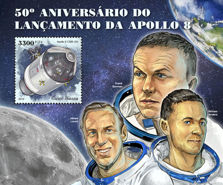 Apollo 8 - Issue of Guinée-Bissau postage stamps