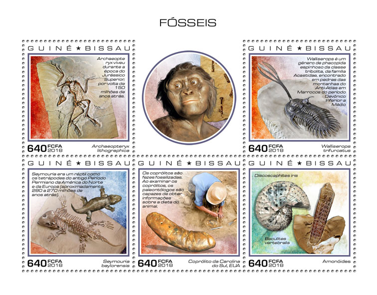 Fossils - Issue of Guinée-Bissau postage stamps