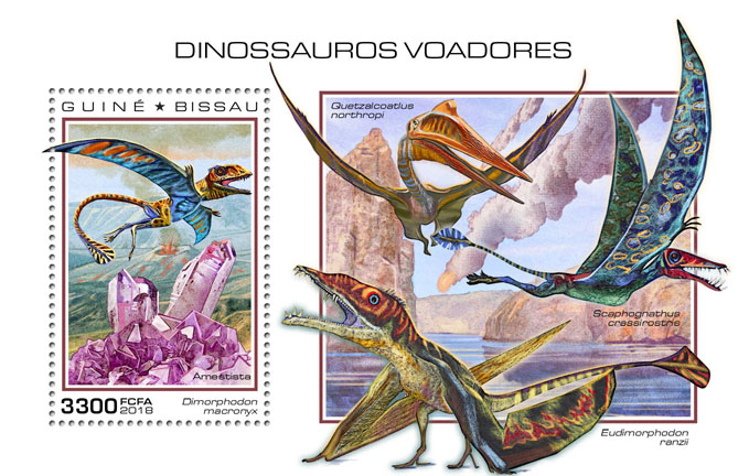 Flying dinosaurs - Issue of Guinée-Bissau postage stamps