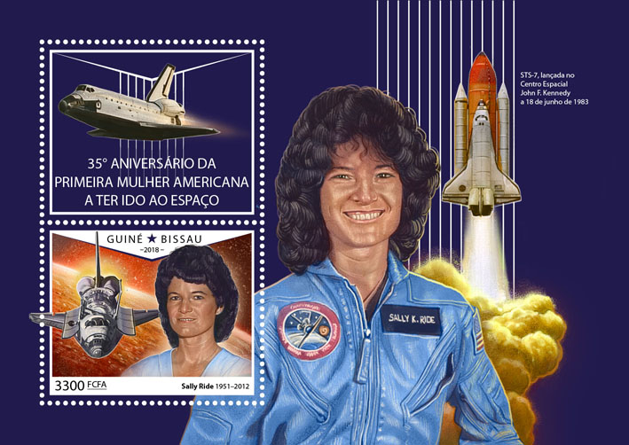 First American woman in space - Issue of Guinée-Bissau postage stamps