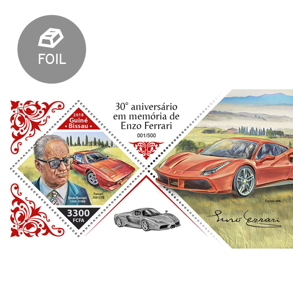 Enzo Ferrari - Issue of Guinée-Bissau postage stamps