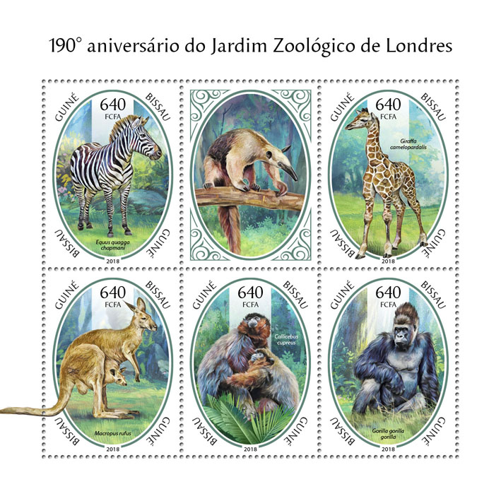 London Zoo - Issue of Guinée-Bissau postage stamps