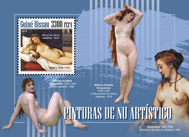 Nude paintings - Issue of Guinée-Bissau postage stamps