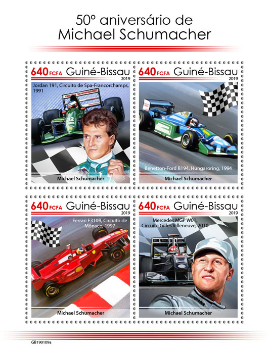 Michael Schumacher - Issue of Guinée-Bissau postage stamps